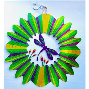 Dundee Deco Falkirk Wind Spinner - Dragonfly - Green and Purple