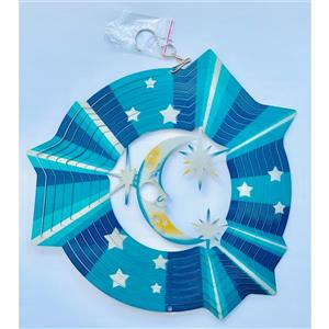 Dundee Deco Falkirk Wind Spinner - Moon with Stars - Blue