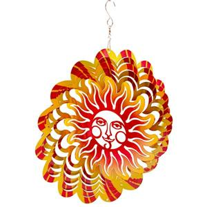 Dundee Deco Falkirk Wind Spinner - Flaming Smiling Sun - Yellow and Red