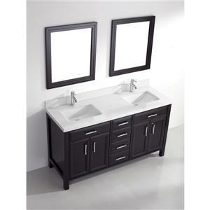 Spa Bathe Calumet Vanity and Sink - 63-in. - Quartz Top - Espresso