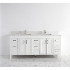 Spa Bathe Cora Vanity and Sink - 75-in. - Quartz Top - White