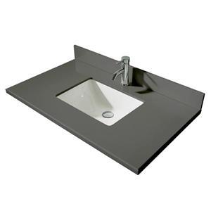 GEF Brielle Bathroom Vanity - Grey Quartz Top - 36-in - Grey