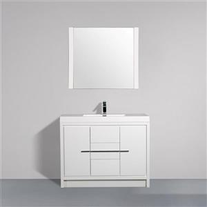 GEF Ember Bathroom Vanity with Mirror - Acrylic Top - 42-in - White