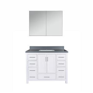 GEF Willow Bathroom Vanity with Medicine Cabinet - Quartz Top - 42-in - White