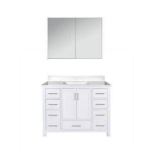 GEF Willow Bathroom Vanity with Medicine Cabinet - Solid surface Top - 42-in - White