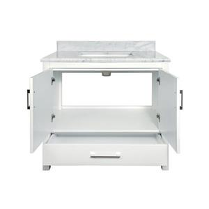 GEF Willow Bathroom Vanity with Medicine Cabinet - Natural marble Top - 36-in - White