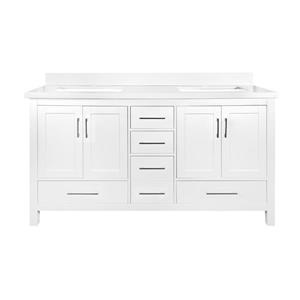 GEF Willow Bathroom Vanity with Medicine Cabinet - White Quartz Top - 60-in - White