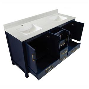 GEF Willow Bathroom Vanity with 2 Sinks - Solid surface Top - 60-in - Blue