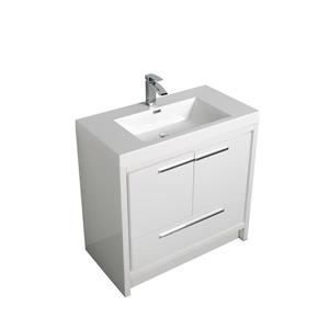 GEF Ember Bathroom Vanity with Mirror - Acrylic Top - 36-in - White