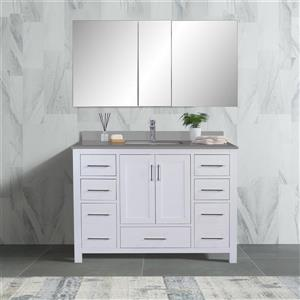 GEF Willow Bathroom Vanity with Medicine Cabinet - Grey Quartz Top - 48-in - White