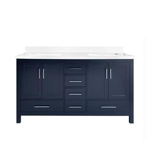 GEF Willow Bathroom Vanity - White Quartz Top - 60-in - Blue