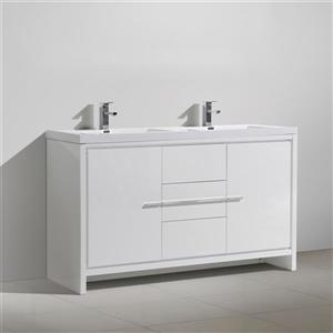 GEF Ember Bathroom Vanity with Medicine Cabinet - Acrylic Top - 60-in - White