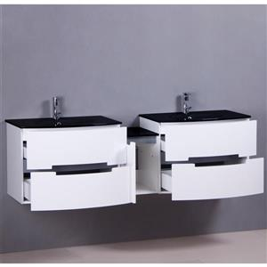 GEF Leila Bathroom Vanity with 2 Mirrors  - Glass Top - 72-in - White