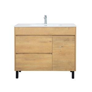 GEF Ava Bathroom Vanity with Medicine Cabinet - Porcelain Top - 40-in - Brown
