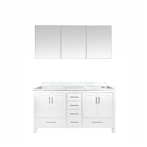 GEF Willow Bathroom Vanity with Medicine Cabinet - Natural marble Top - 60-in - White