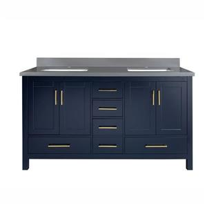 GEF Willow Bathroom Vanity with 2 Sinks - Grey Quartz Top - 60-in - Blue