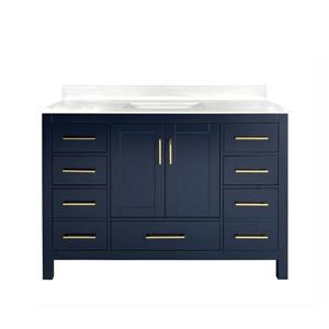 GEF Willow Bathroom Vanity - White Solid surface Top - 48-in - Blue