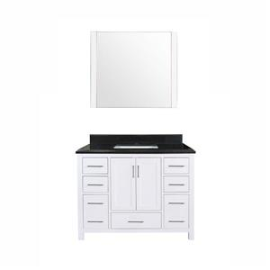 GEF Willow Bathroom Vanity with Mirror - Granite Top - 42-in - White