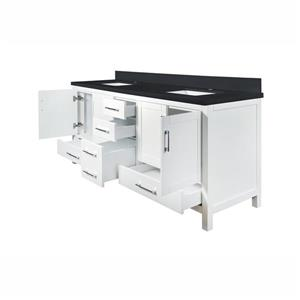 GEF Willow Bathroom Vanity - Quartz Top - 72-in - White