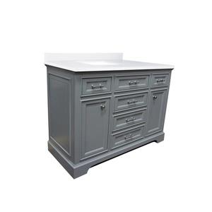 GEF Brielle Bathroom Vanity - Snow-White Quartz Top - 48-in - Grey