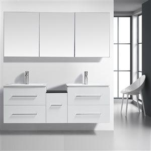 GEF Hadley Bathroom Vanity - Porcelain Top - 72-in - White