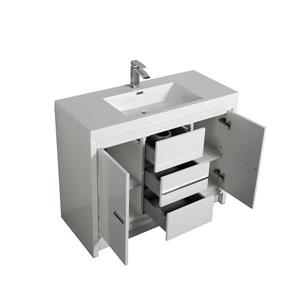 GEF Ember Bathroom Vanity with Medicine Cabinet - Acrylic Top - 42-in - White