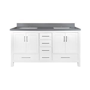 GEF Willow Bathroom Vanity with Medicine Cabinet - Grey Quartz Top - 60-in - White