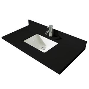 GEF Brielle Bathroom Vanity - Black Quartz Top - 48-in - White