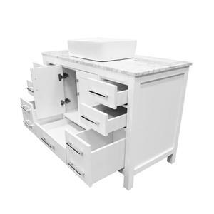 GEF Mackenzi Bathroom Vanity - Natural marble Top - 48-in - White