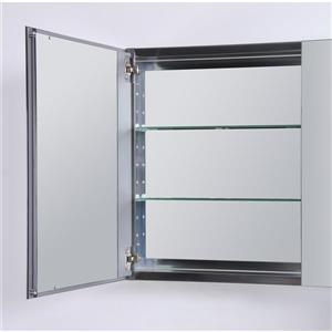 GEF Willow Bathroom Vanity with Medicine Cabinet - Grey Quartz Top - 30-in - White