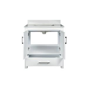GEF Willow Bathroom Vanity with Medicine Cabinet - Solid surface Top - 30-in - White