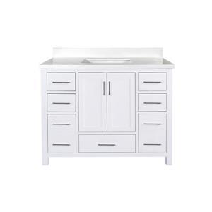 GEF Willow Bathroom Vanity with Mirror - White Quartz Top - 42-in - White
