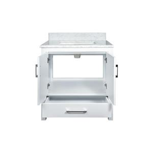 GEF Willow Bathroom Vanity with Medicine Cabinet - Natural marble Top - 30-in - White