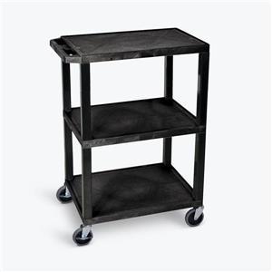 Luxor Tuffy Utility Cart - Three Shelves - Black