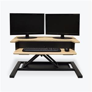 Luxor Level Up Pro 32-in Standing Desk Converter - Light Oak/Black