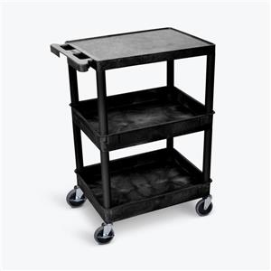 Luxor Flat Top and Tub Middle/Bottom Shelf Cart - Black