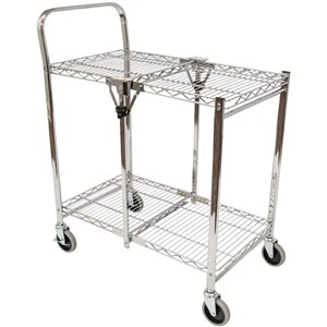 Luxor Two-Shelf Collapsible Metal Utility Cart - Black