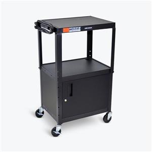 Luxor Adjustable-Height Steel AV Cart - Cabinet - Black
