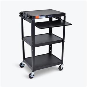 Luxor Adjustable-Height Steel AV Cart - Pullout Tray - Black