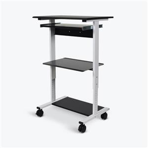 Luxor 29.4-in Three-shelf Adjustable Stand Up Workstation - Gray