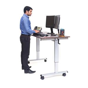 Luxor 60-in High-Speed Crank Adjustable Stand Up Desk - Gray