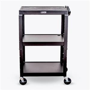 Luxor Adjustable-Height Steel AV Cart - Black