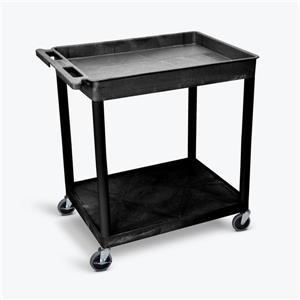 Luxor Large Top Tub and Flat Bottom Shelf Cart - Black