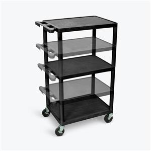 Luxor Multi-Height AV Cart - Three Shelves - Black