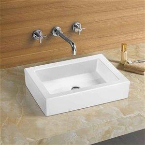American Imaginations Vessel Rectangular Sink - 22-in - White