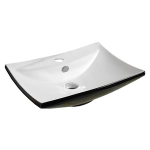 American Imaginations Vessel Sink - 23.8-in - Black/White