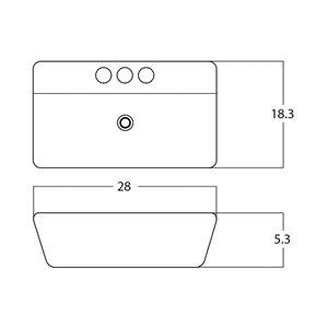 American Imaginations Rectangular Vessel Sink - 28-in - White