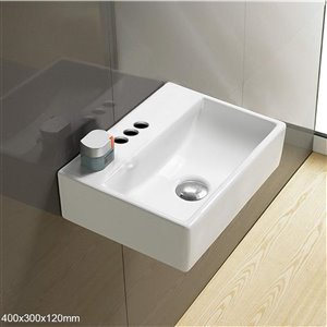 American Imaginations Wall-Mount Sink -15.7-in - White