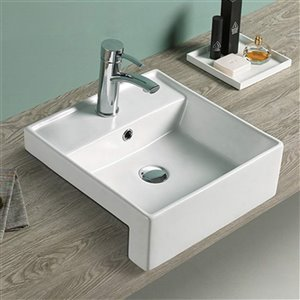 American Imaginations Vessel Square Sink - 16.14-in - White