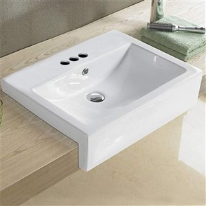 American Imaginations Rectangular Bathroom Sink - 23.6-in - White